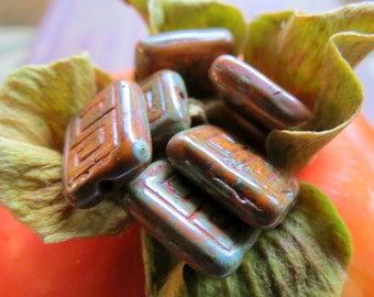 NEW PERSIMMON REX . Czech Picasso Glass Beads . 13 by 9 mm (4+ beads)