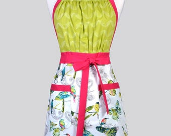 Cute Kitsch Womens Apron - Turquoise and Ivory Birds Retro Full Coverage Vintage Style Kitchen Chef Apron with Pockets
