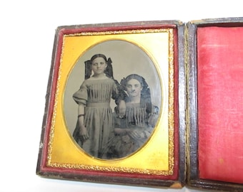 Antique Victorian Tin Type photo of two sisters in ornate box