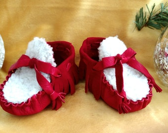 """Baby Moccasins By Desi, Sheepskin Fur,  3 3/4"""" Long, Red Deerskin Leather, Winter Warm Wear, Holiday Shoes, First Christmas Outfit, Fancy"""