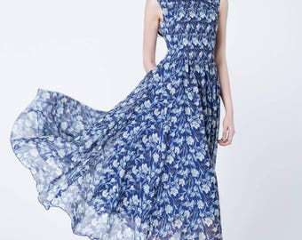 chiffon dress, prom dress, flower printed dress, maxi dress, sleeveless dress, swing dress, pleated dress, summer dress, party dress 1725