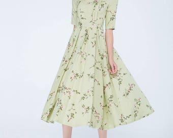 green dress, flower dress, tea length dress, pleated dress, elegant dress, summer dress, womens dresses, handmade dress,fashion clothing1744