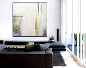 Original Art Large Painting Abstract Art Modern Contemporary Oil Art White Gray Amber Yellow Abstract Oil Painting Minimalist Sky Whitman
