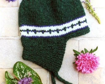 Little Flap Cap - Cabin Fever Knitting Pattern #109 NB-4yr - Knit in the Round - No Sewing