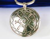 "RESERVED FOR RALPH - Mayan Hunab Ku Fine Silver Talisman Pendant with 16 "" Leather Cord Necklace - Hunab Ku Silver Necklace"