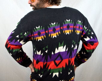 Vintage 80s Rainbow Sunset Geometric Cardigan Sweater