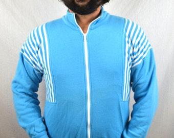 Vintage 1970s Blue Striped Ringer SOFT Track Jacket
