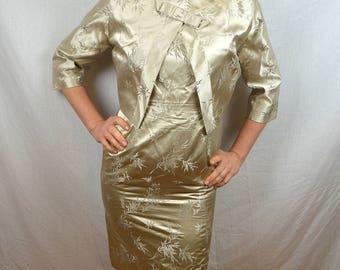 Vintage 1950s 60s Silks Brocade Wiggle Dress with Matching Jacket