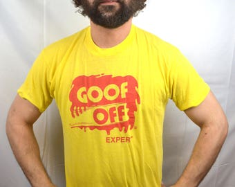 Vintage 1980s Yellow Goof Off Expert Tee Shirt Tshirt