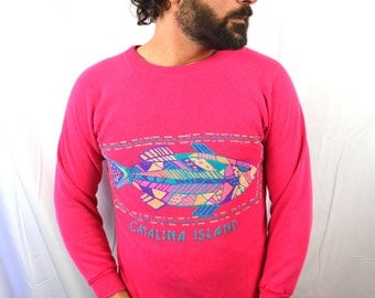 Vintage 1980s Puffy 80s Catalina Island Neon Rainbow Pink Sweatshirt