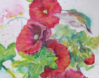 hummingbird hollyhock watercolor painting, original flower watercolor,garden flower original art, hummingbird in flight art,large watercolor