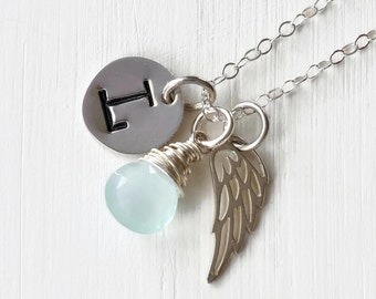 Personalized Infant Loss Jewelry / Sterling Silver Angel Wing Necklace / Stillborn Memorial with March Birthstone