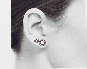 Double piercing Stud Earring Set, Target Bullseye Studs, Sterling Silver Stud Earrings, contemporary metalwork round studs for man, woman