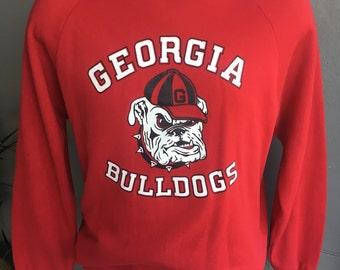 1980s Georgia Bulldogs sweatshirt vintage - red size large/XL