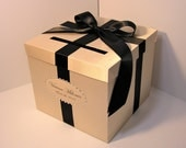 Wedding Card Box Champagne and Black Gift Card Box Money Box  Holder--Customize your color