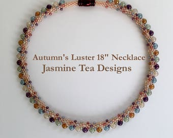 Autumn's Luster Beaded Kumihimo Transparent Necklace, 18 Inch Necklace, Five Color Luster Transparent Beaded Kumihimo Necklace