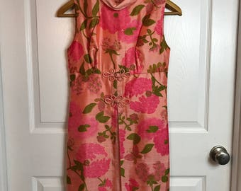 Vintage 1960s 60s Dress - Pink Print Silk - Floral and Butterfly - Split Front - Spring Summer Fashion - Small Medium