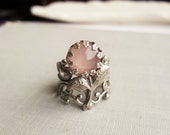Rose Quartz Flower Filigree Ring in Antique Silver or Antique Brass. Statement Ring