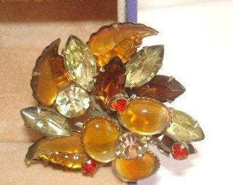 Topaz Rhinestone Jewelry Brooch Silver Tone