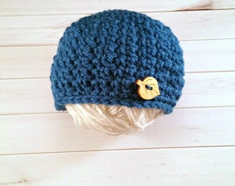 Baby Boy Blue Button Hat, Crochet baby hat, Newborn Boy Prop, Button Beanie, Wood Button Hat, Baby Button Hat