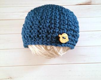 Baby Boy Blue Button Hat, Crochet baby hat, Newborn Boy Prop, Button Beanie, Wood Button Hat, Baby Button Hat