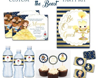 Beauty and the Beast Birthday Party Package, 5x7 Party Invitations, Custom Princess Belle Party, Custom Party Kit, , Disney, Printable Party