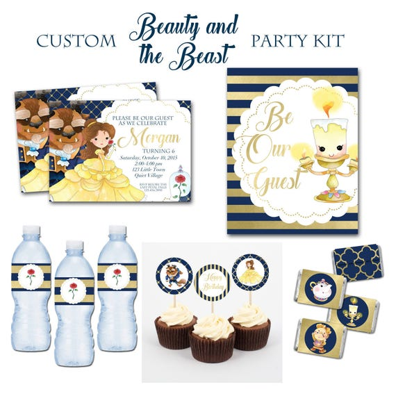 Beauty and the Beast Birthday Party Package 5x7 Party Invitations