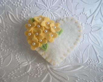 Felt Flower Brooch Yellow Beaded Valentines Day Heart Wool  Flowers