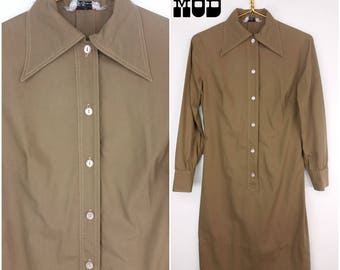 Cool & Comfortable Vintage 70s Brown Cotton Shirt Dress with Pointy Collar