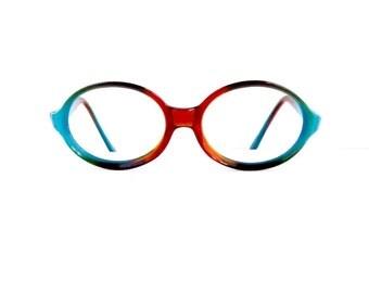 80s 90s Oval Eyeglasses Frames Women's 1980's 1990's Tortoiseshell & Blue Frames #M643 DIVINE