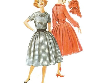 1950s Fullskirted Dress with Detachable Bow Pattern Simplicity 2767 B31 Sz 11 Junior Size