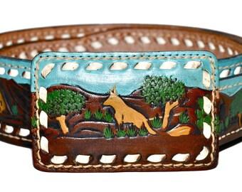 Vintage SHEYENNE Tooled Painted LEATHER Buckstitch Western Landscape Belt 34