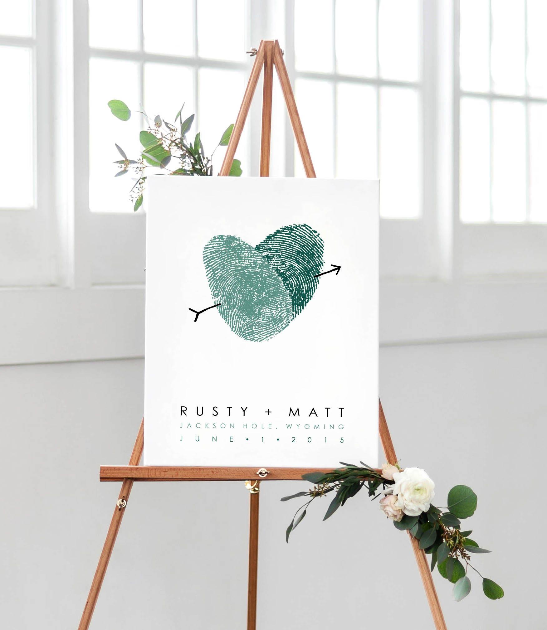 Wedding Guest Signature Ideas: Canvas Wedding Sign Fingerprint Wedding Guest Book Poster