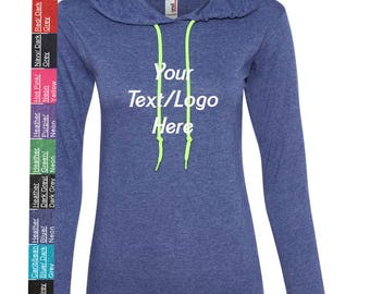 Custom Made Anvil - Women's Lightweight Long Sleeve Hooded T-Shirt - 887L Vinyl or Glitter Print Customized All Colors