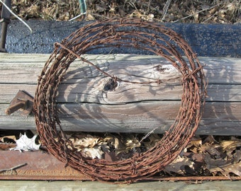 Barbed Wire Wreath Rusty Salvage Vintage Rustic Western Available in 16, 17 or 18 Inch Diameter