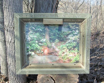 Vintage Victor Anderson 3-D Lentograph Dear in Forest Metal Frame Lighted Picture Plate No. 121 Midday Respite