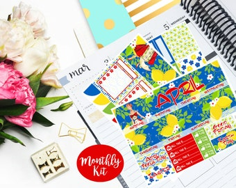April Monthly Kit Planner Vertical EC Erin Condren Happy Planner Kikki K Vintage Sticker Glossy - Stick to Your Story