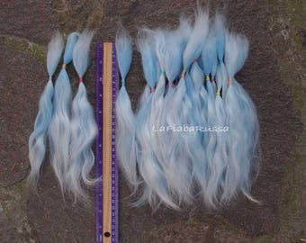 Doll Hair Combed Mohair locks baby blue shades extra long 8-9 in for reroot/ Reborn/ BJD, Art Dolls, blythe, pullip, minifee