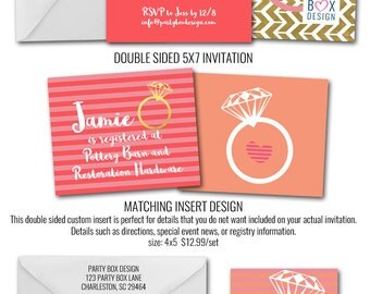 Love is Sweet Coral Bridal Shower Invitations