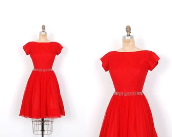 Vintage 1950s Dress / 50s Red Chiffon Party Dress / Full Skirt (small S)