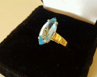 14K Gold Large Blue Topaz Marquise Solitaire Engagement Ring 2.7g Valentines Day