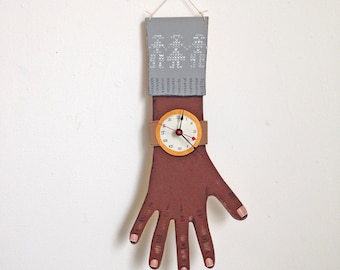 OOAK -- hand painted wooden clock wearing grey sweater