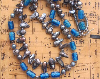 Bird Nest Necklace  Aqua Grey Blue Pearls Glass