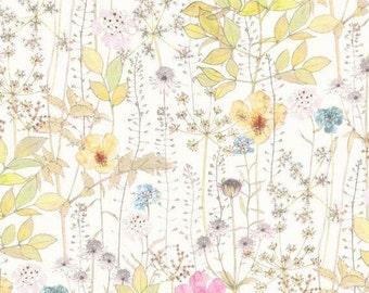 Flower Garden, Irma, Liberty Tana Lawn Fabric, Liberty of London, Liberty Japan, Cotton Print Scrap, Floral Patchwork Quilt Fabric, kt3182a