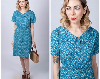 Vintage 1950's Peacock Feather Print Dress/ 50's Feather Print Button Front Belted Dress/ Cotton Dress Size Large