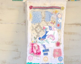 """Whimsical Textile Collaged Bluebird Wall Hanging """"Savor the Magic"""""""