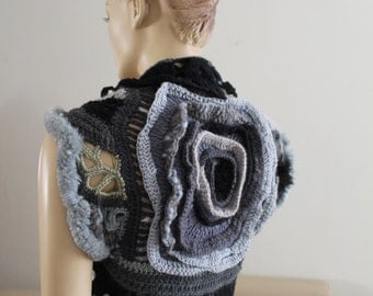 Gypsy Boho Hippie  Chic Crochet  Knit Vest Shrug, Freeform Crochet Vest Bolero Sweater, Steampunk  vest ,art to wear, gothic vest, Size S/M