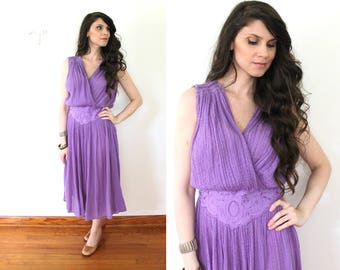 70s Grecian Dress / 1970s Lilac Purple Boho Gauze Dress