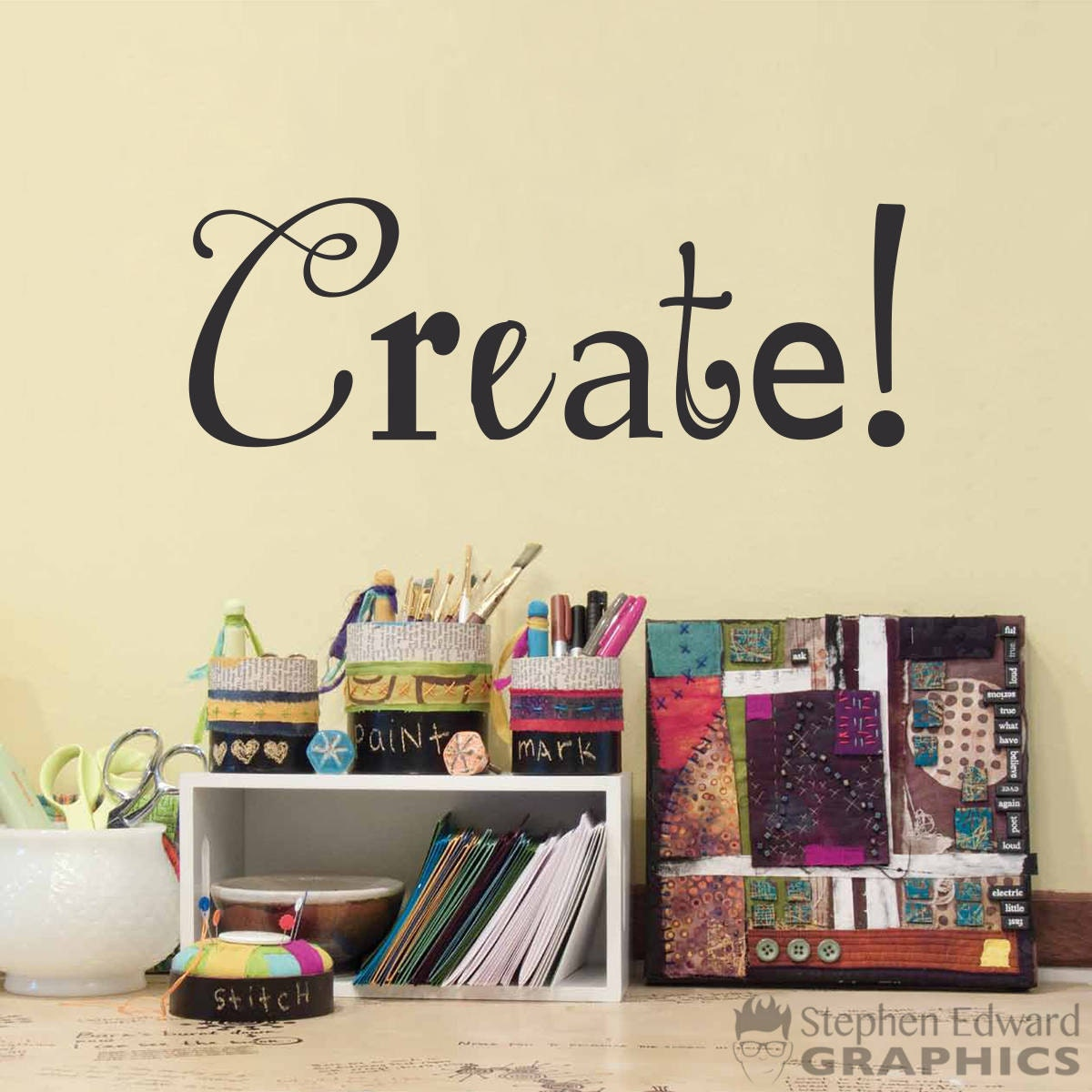 Create wall decal artist gift craft room decor or art details the create wall decal amipublicfo Gallery