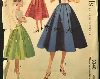 McCall's 1950's Pattern # 3340 for Misses' Full Circle Skirt w/ Ribbon Trim - 1955 - Swing Dance, Rockabilly - Waist 24